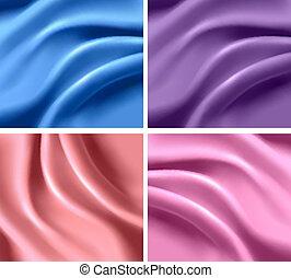 et of elegant colorful silk backgrounds. Vector illustration.