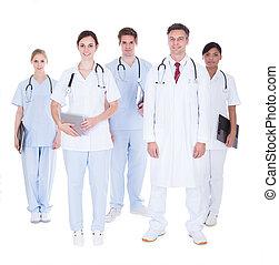 enfermeras, grupo, medicos