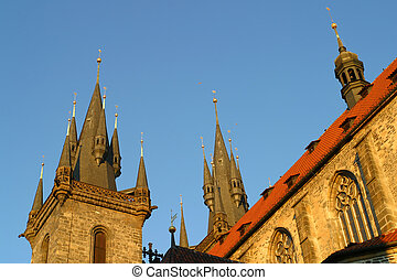 The roof of the Tyn Church Old Town Prague