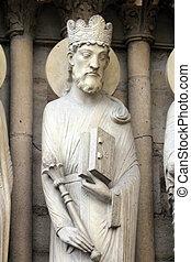 King Solomon, Notre Dame Cathedral, Paris, Portal of St....