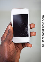 Businessperson Smartphone With Cracked Screen - Close-up Of...