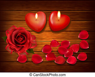 Valentine`s day background. Red roses and two heart candles on wooden background. Vector.