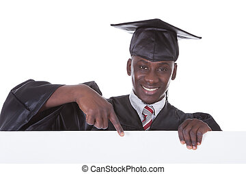 Graduation Man With Bill Board - Young Graduation Man...