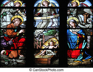 Nativity Scene, stained glass window
