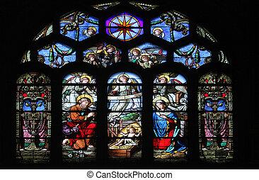 Nativity Scene, stained glass window