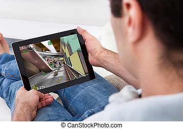 Young Man Playing Game - Close-up Of Young Man Playing Video...