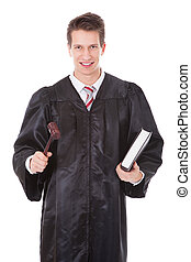 Judge Holding Gavel And Book