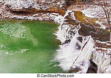 Frozen Upper Cataract Falls - Upper Cataract Falls, a...