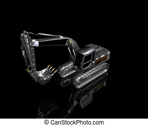 heavy excavator on a black background