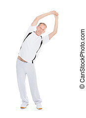 Mature Man Stretching His Arms