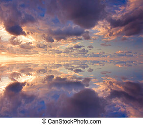 Colorful reflection of clouds at sunset
