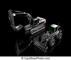 heavy building bulldozer and excavator on a black background