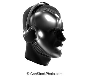 3D men textured face with headphone isolated on white