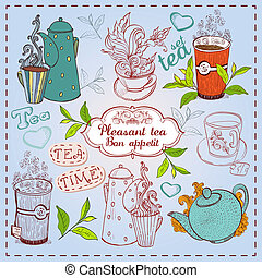 Cute hand drawn teapots, cups and cupcakes - Cute hand drawn...