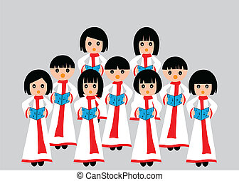 Choir singing - A group of children in choir