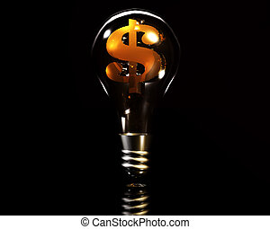 3d lamp with golden dollar sign