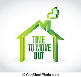 time to move out message illustration design over a white...