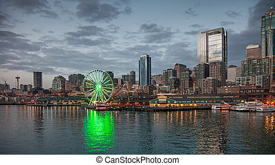 Skyline of Seattle in the evening - Seattle, USA, JANUARY...