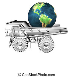 truck and globe isolated on a white background