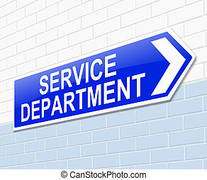 Service department sign - Illustration depicting a sign with...