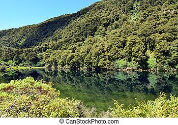 Fiordland - New Zealand - Reflection of landscape of on...