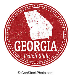 Georgia stamp - Vintage stamp with text Peach State written...
