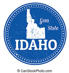 Idaho stamp - Vintage stamp with text Gem State written...