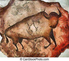 bull a la Altamira - Painting of the bull like primeval cave...