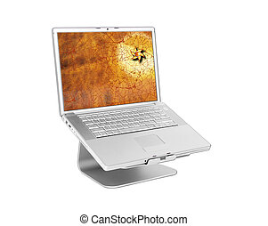 Laptop with golden star on screen isolated on white