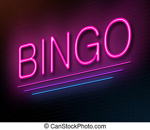 Bingo concept. - Illustration depicting an illuminated neon...