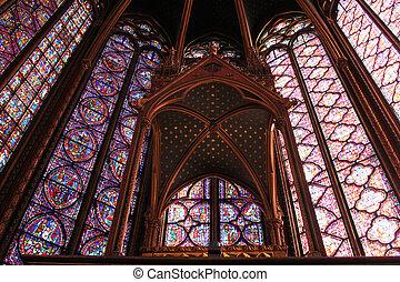Stained glass window in La Sainte-Chapelle in Paris, France