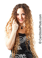 Portrait of beautiful woman with curly long hair on white...