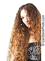 Portrait of beautiful  woman with curly long hair on white background. Makeup, fashion, beauty.