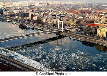 Aerial view of the Danube River Budapest Hungary.
