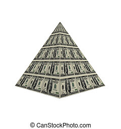 dollar pyramid  - us dollar note pyramid isolated on a white