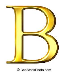 3D Golden Greek Letter Beta - 3d golden Greek letter beta...