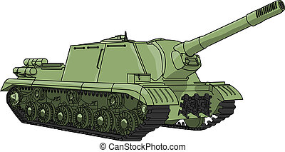 self-propelled gun vector - self-propelled gun isolated on...
