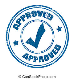 Approved stamp - Approved grunge rubber stamp on white,...