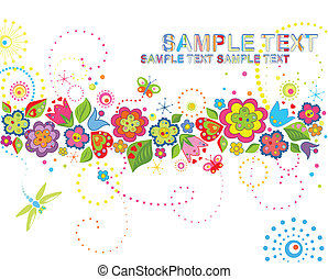 Greeting card with funny colorful flowers