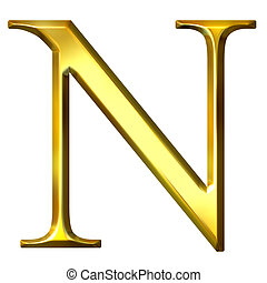 3D Golden Greek Letter Ny - 3d golden Greek letter ny...