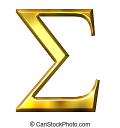 3D Golden Greek Letter Sigma - 3d golden Greek letter sigma...