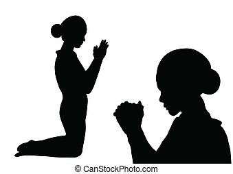 Prayer silhouette - Woman paying isolated on white...