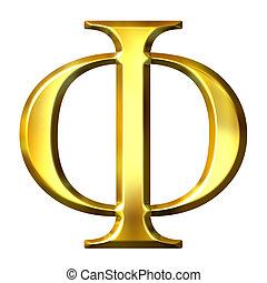 3D Golden Greek Letter Phi - 3d golden Greek letter phi...