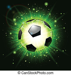 green soccer ball explosion - soccer ball explosion on green...