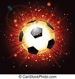 soccer ball explosion on red background