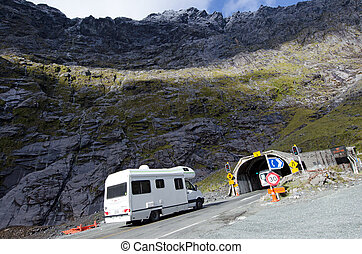 Fiordland - Homer Tunnel - FIORDLAND,NZ - JAN 14:Campervan...