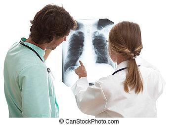 residente, explicando, interno, pulmões,...