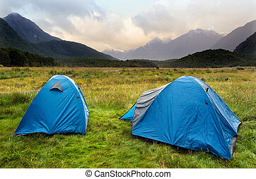 Fiordland - New Zealand - Two tents in campsite in...