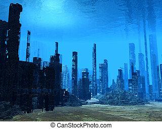 plancher,  3D,  océan