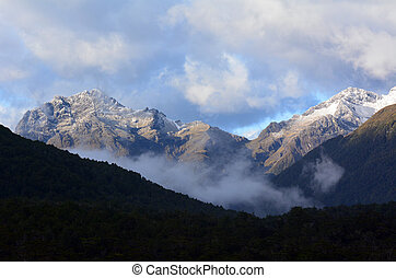 Fiordland - New Zealand - Landscape of mountains with snow...